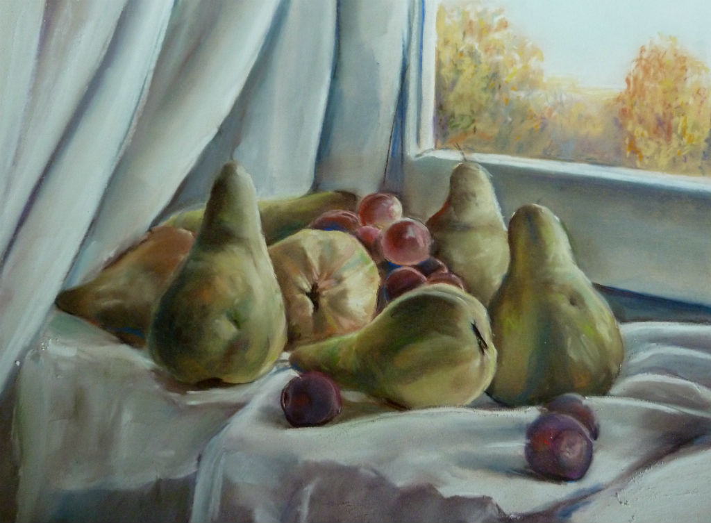 Пастель груши и виноград