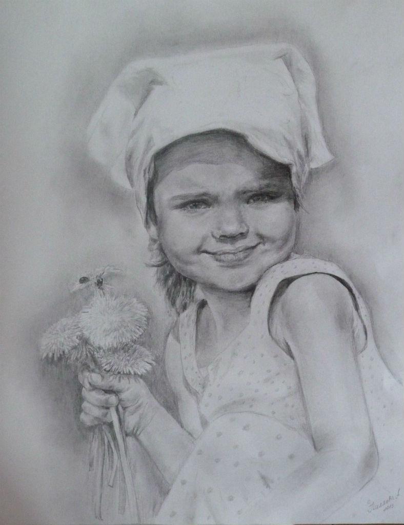 Портрет карандашом Полина